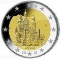 Moneda 2 euros Alemania 2012. Bayern. Juego 5 cecas (A,D,G,F,J)