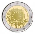 Moneda 2 euros de España 2015. 30 Años Bandera Europea