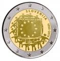 Moneda 2 euros de Eslovenia 2015. 30 Años Bandera Europea