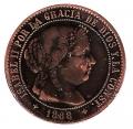 Moneda España Isabel II 2 1/2 Cent. de Escudo Jubia 1868-OM. MBC