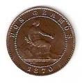 Moneda Gobierno Provisional 0,02 Céntimos peseta 1870 .EBC