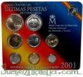 Serie cartera de monedas. Pesetas del año 2001 (8 valores)