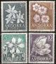 Serie sellos Andorra 068-71. Flores del Principado