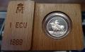 Año 1989.MONEDA PLATA 1 ECU FDC. Europa