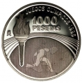 Año 1995. MONEDA PLATA 1000 ptas PROOF. Atlanta. Capsula