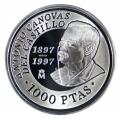 Año 1997. MONEDA PLATA 1000 ptas PROOF. Canovas. Capsula