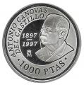 Año 1997. MONEDA PLATA 1000 ptas PROOF. Canovas del Castillo