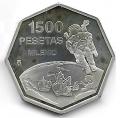 Año 1999. MONEDA PLATA 1500 ptas. Milenio - Astronauta