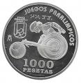 Año 2000. MONEDA PLATA 1000 ptas. Paralimpicos - Silla de Ruedas