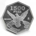 Año 2000. MONEDA PLATA 1500 ptas. Milenio - Paz