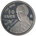 Año 2002. Moneda 10 Euros Luis Cernuda. Plata PROOF