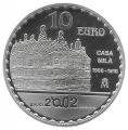 Año 2002. Moneda 10 euros. Gaudi - Casa Mila