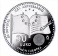 Año 2017. Moneda 30€ Felipe VI - Tratado Union Europea