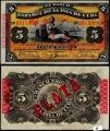 Billete 005 Pesos Banco Español Isla Cuba 1896 EBC-