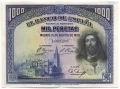 Billete Banco de España - Madrid 1000 pesetas 1928 EBC PTO GRAPA