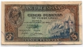 Billete Estado Español 0005 pesetas Madrid 1940 MBC