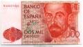 Billete Juan Carlos I 02000 pesetas Madrid 1980 SC NUMERACIÓN 9A