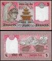 Billete Nepal 005 Rupias S/C. 1987