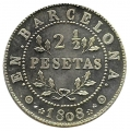Jetón o Ficha 2 1/2 Pesetas Barcelona 1808. Plata