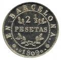 Jetón o Ficha 2 1/2 Pesetas Barcelona 1809. Plata