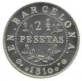 Jetón o Ficha 2 1/2 Pesetas Barcelona 1810. Plata