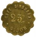 Jetón o Ficha Cafe Dindurra Gijon. 25 Cent.