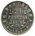 Medalla 2 1/2 Pesetas Barcelona 1808. Plata