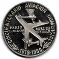 Medalla Cincuentenario Aviacion Comercial. Medalla Ag. 0,999