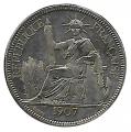 Moneda 001 Piastra Francia Indochina 1907 MBC+. Ag. 0,900
