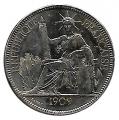 Moneda 001 Piastra Francia Indochina 1909 MBC+. Ag. 0,900