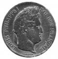 Moneda 005 Francos Francia 1832 (M) BC. Ag. 0,900