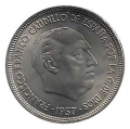 Moneda 025  pesetas 1957 *65.SC