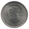 Moneda 025  pesetas 1957 *68.SC