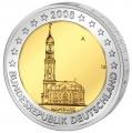 Moneda 2 euros Alemania 2008 Hamburgo. Juego (A, D, F, G, J)