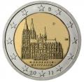 Moneda 2 euros Alemania 2011. Juego de 5 monedas (A,D,F,G,J)