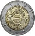 Moneda 2 euros Alemania 2012 - X Aniv. del Euro.Juego 5 cecas