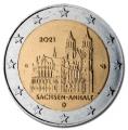 Moneda 2 euros Alemania 2021 Sajonia. Juego (A, D, F, G, J)