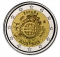 """Moneda 2 euros de España (2012) """"X ANIVERSARIO EURO"""""""
