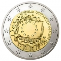Moneda 2 euros de Austria 2015 - 30 años Bandera Europea