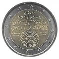 Moneda 2 euros de Portugal 2020. ONU
