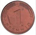 Moneda Alemania 00001 pfennig. 1950 (F). MBC