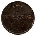 Moneda Alemania - Frankfurt 01 Pfennig 1819 MBC
