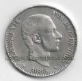 Moneda Alfonso XII 0,50 céntimos peso 1883 .MBC (FILIPINAS)