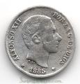 Moneda Alfonso XII 0,10 céntimos peso 1885 .MBC (MANILA)