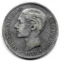 Moneda Alfonso XII 05 Pesetas 1877 *-8.-- (DEM).BC