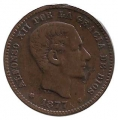 Moneda Alfonso XII 0,05 céntimos 1877 .MBC (BARNA)OM