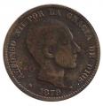 Moneda Alfonso XII 0,10 céntimos 1879 .MBC (BARNA)OM