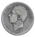 Moneda Alfonso XII 01 Peseta 1882 *--.82.BC