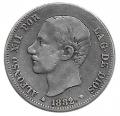 Moneda Alfonso XII 02 Pesetas 1882 *18.82 (MSM).MBC