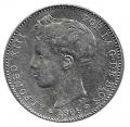 Moneda Alfonso XIII 01 Pesetas 1896 *18.96 (PGV).EBC